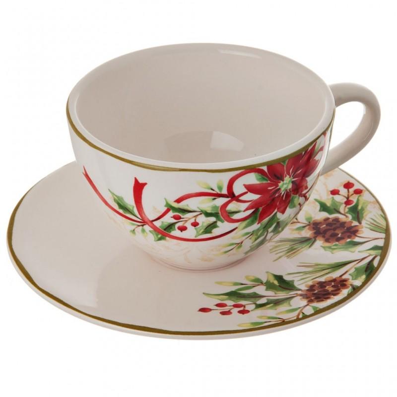 Taza con plato para té cerámica Flor Navidad Haus