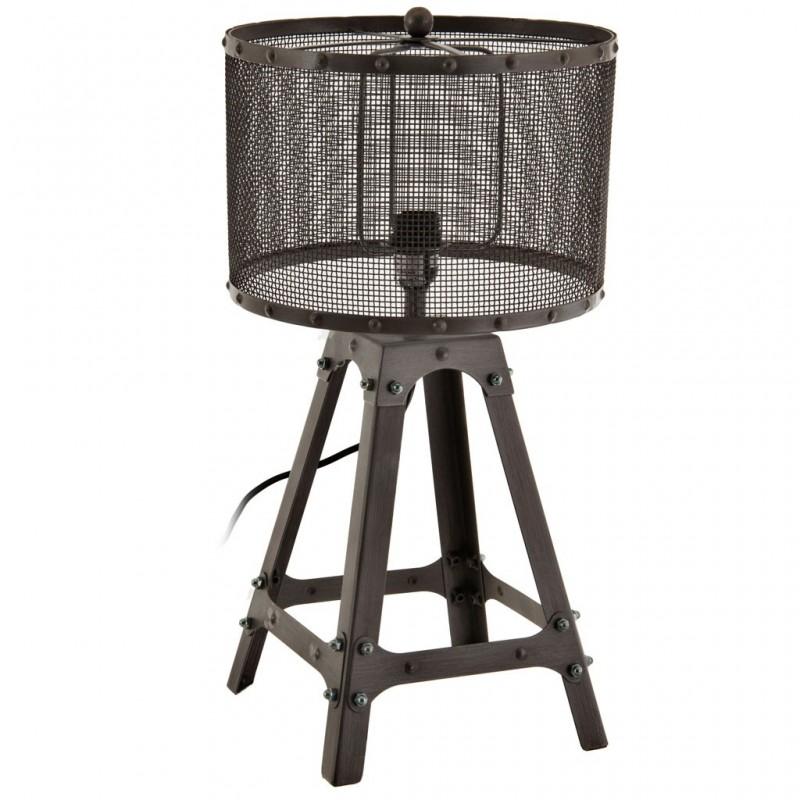 Lámpara de mesa con pantalla redonda Torre Malla Metal