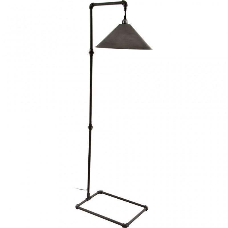 Lámpara de piso con pantalla cónica Tubular Metal