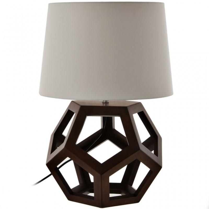 Lámpara de mesa con pantalla cónica / base geométrica Madera