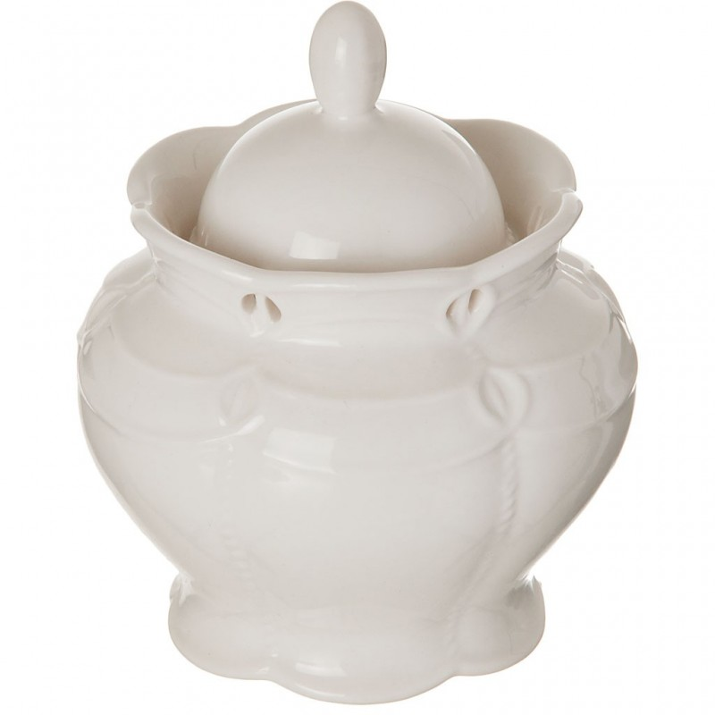 Azucarera de porcelana Borde Perforado Blanco Haus