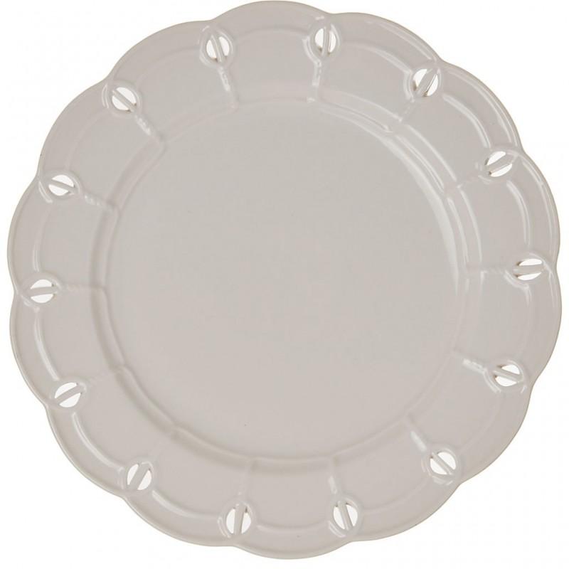 Plato tendido de porcelana Borde Perforado Blanco Haus