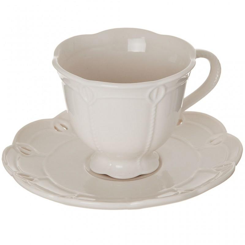 Juego de taza y plato para té Borde Perforado Blanco Haus