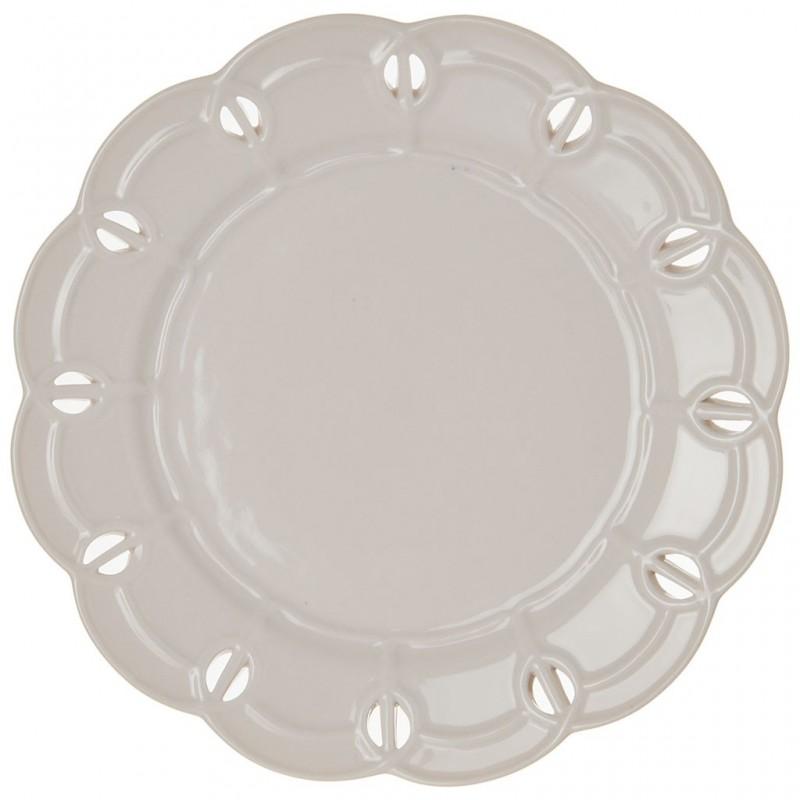 Plato para ensalada de porcelana Borde Perforado Blanco Haus