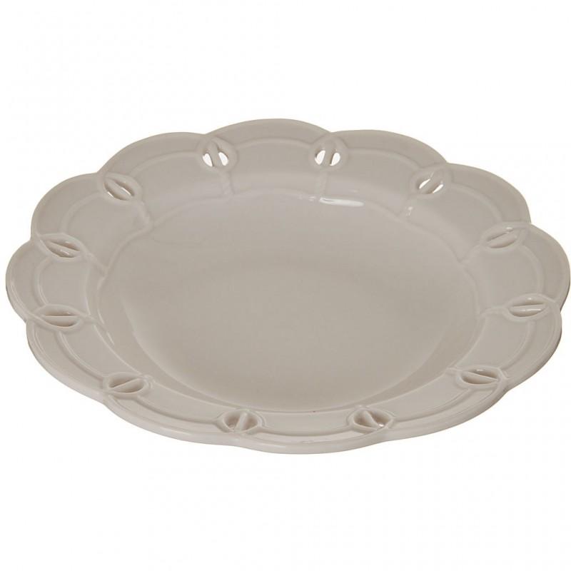 Plato para sopa de porcelana Borde Perforado Blanco Haus