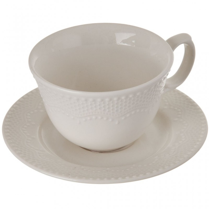 Juego de taza y plato para tinto Romantic Queen Lacy Haus