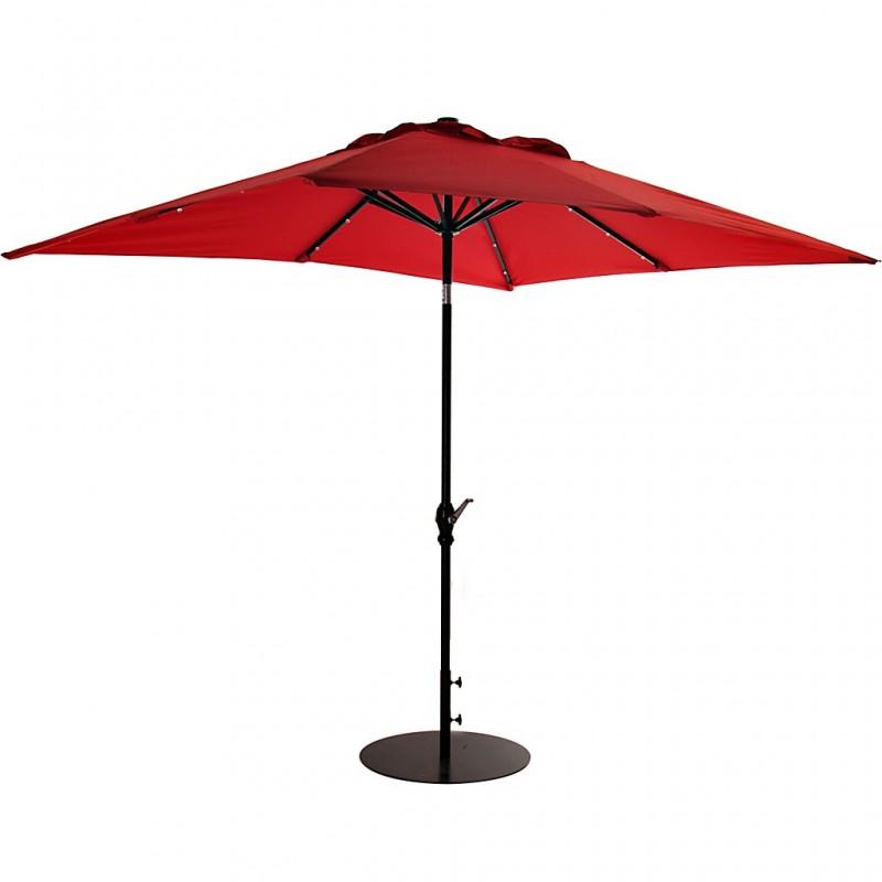 Parasol cuadrado con base y luz LED
