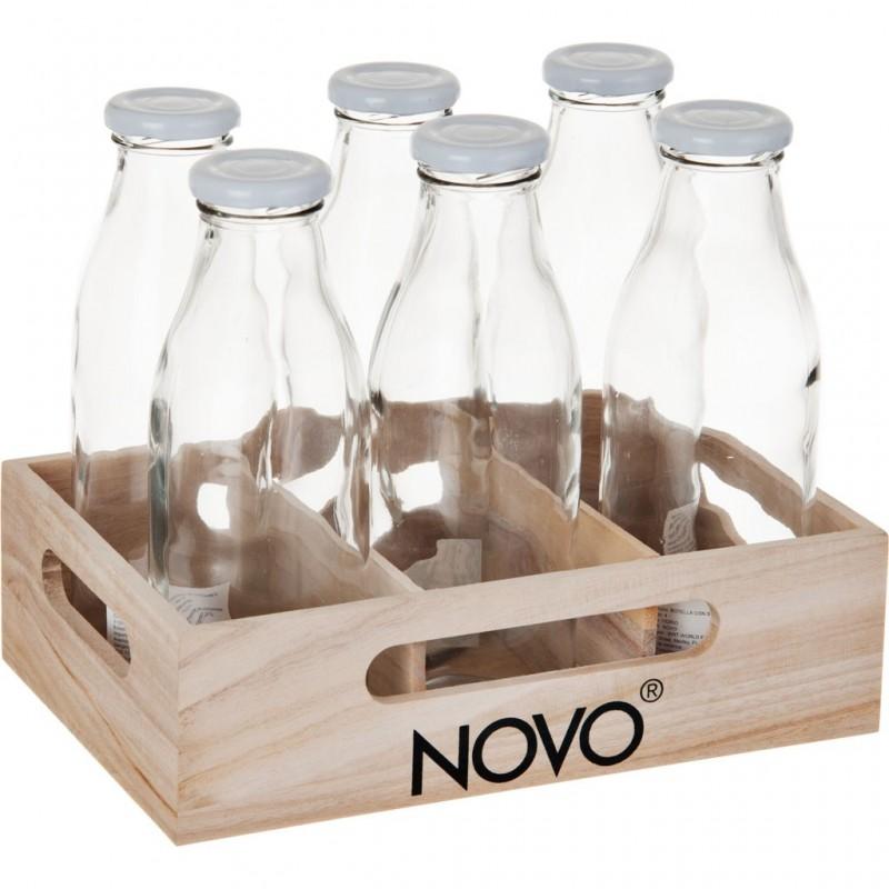 Botellas de vidrio con porta botella de madera Navigator