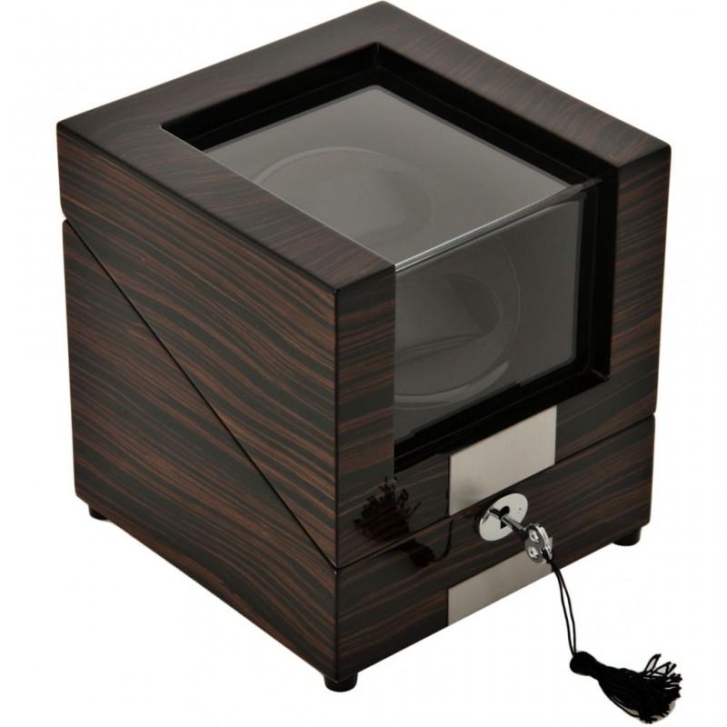 Caja de madera para relojes con plataforma giratoria 2 servicios