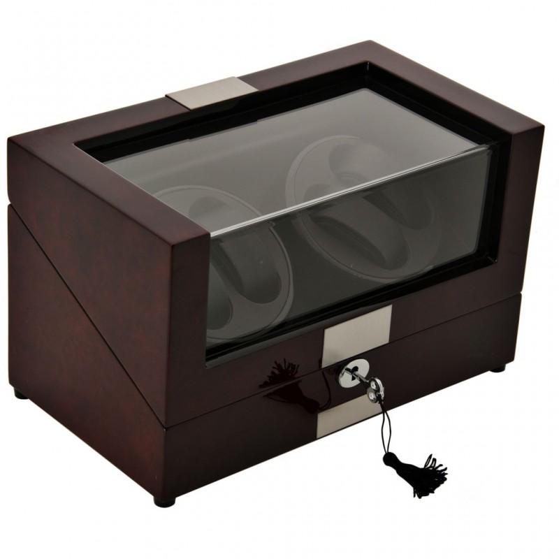 Caja de madera para relojes con plataforma giratoria 4 servicios Terracota