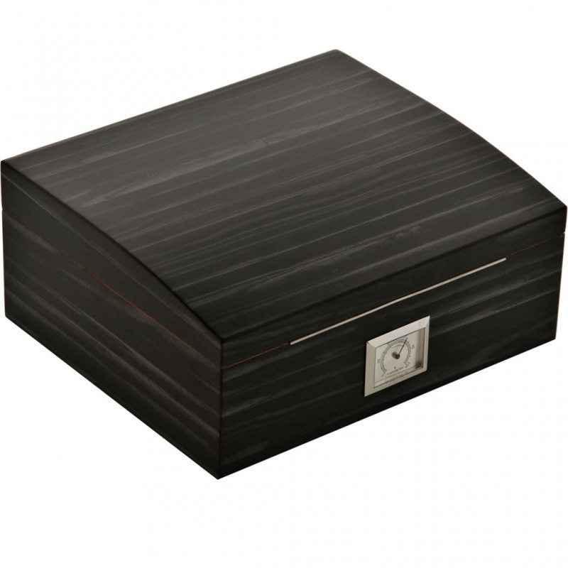 Caja de madera mediana para puros con humidificador