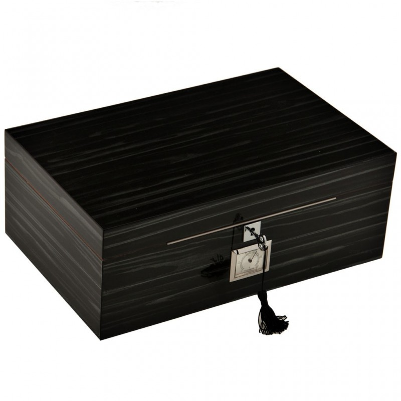 Caja de madera grande para puros con humidificador