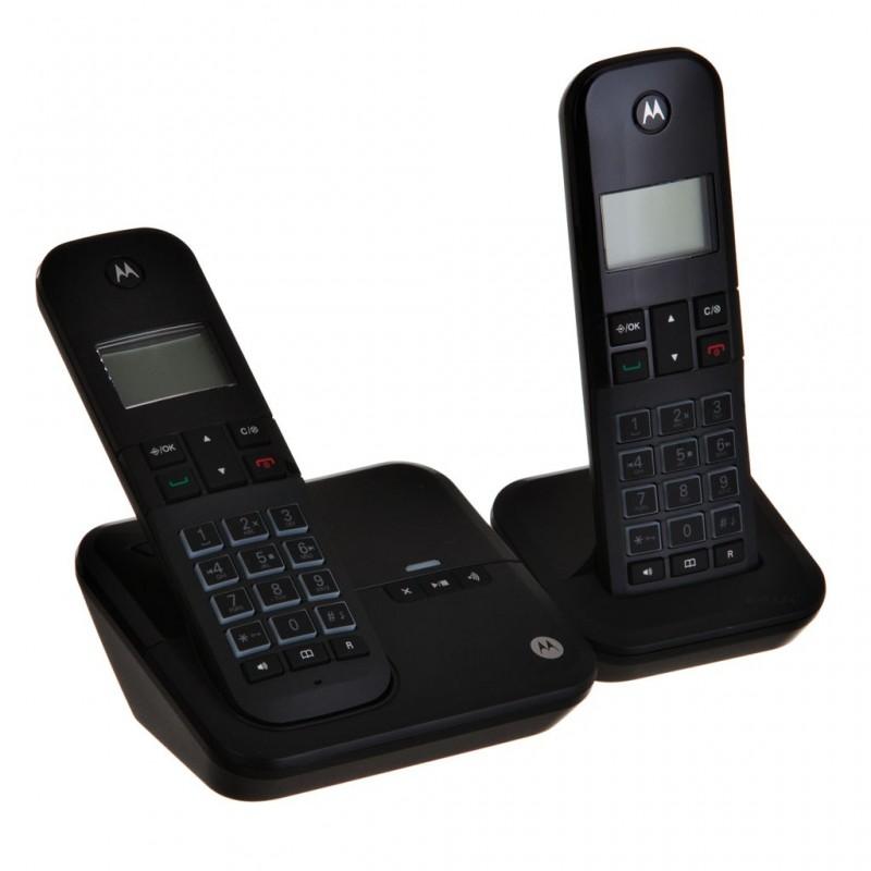 Teléfono inalámbrico con 1 extensión, contestador digital, ID y altavoz Motorola