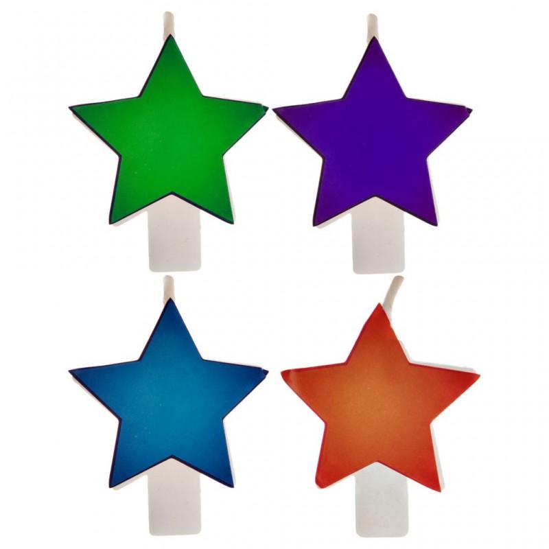 Juego de 4 velas Estrella Multicolor
