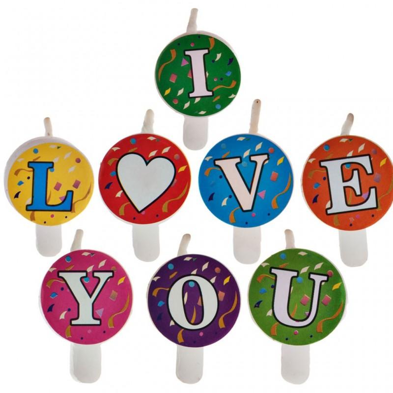 Juego de 8 velas letras I Love You