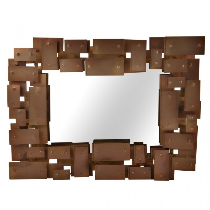 Espejo rectangular Bronce Geométrico Haus