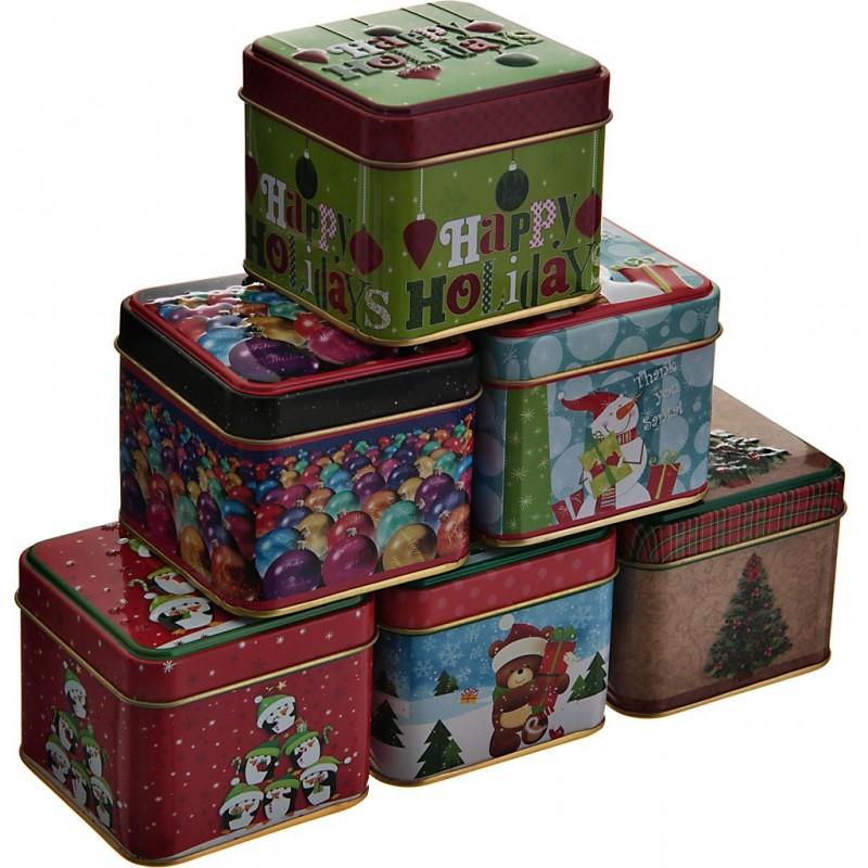 Mini caja de metal para regalo Relieve Navidad Surtido Lindy Bowman