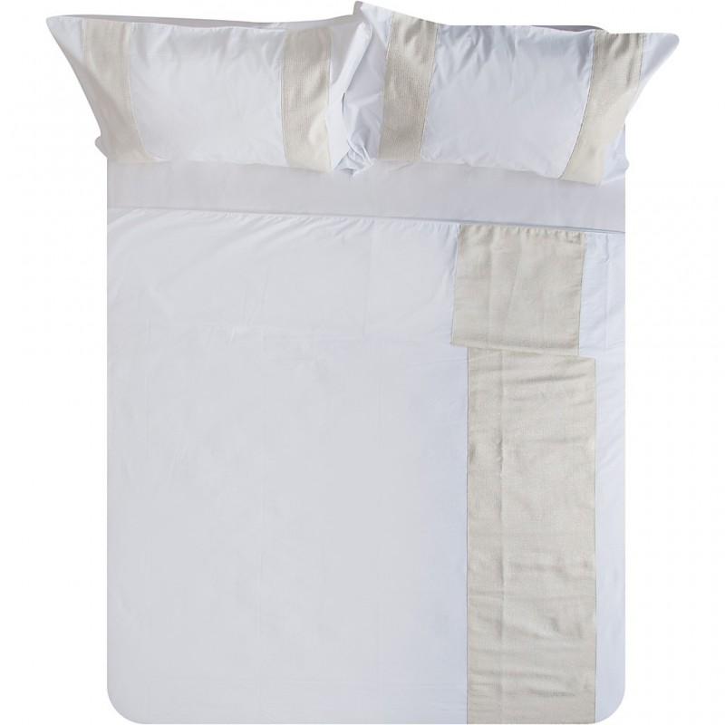 Juego de duvet 260 hilos 70% algodón - 30% poliéster Brillante Blanco/Beige