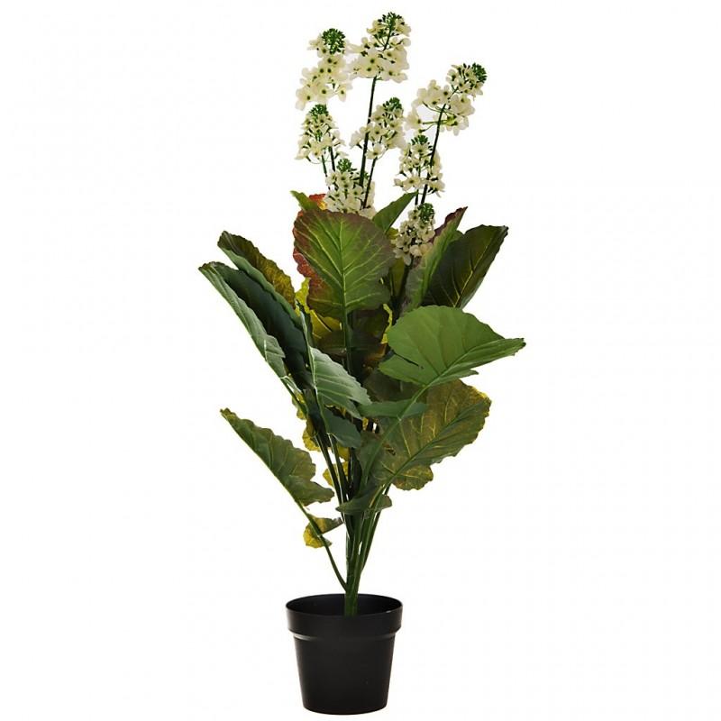 Planta artificial con maceta Flor Blanca plástico / hierro Haus
