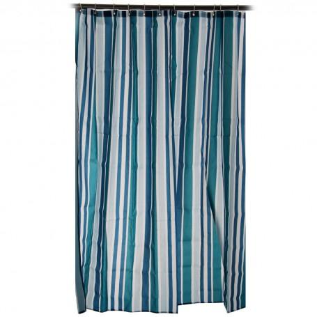 Cortina para baño con 12 ganchos Rayas Multicolor 100% poliéster Haus