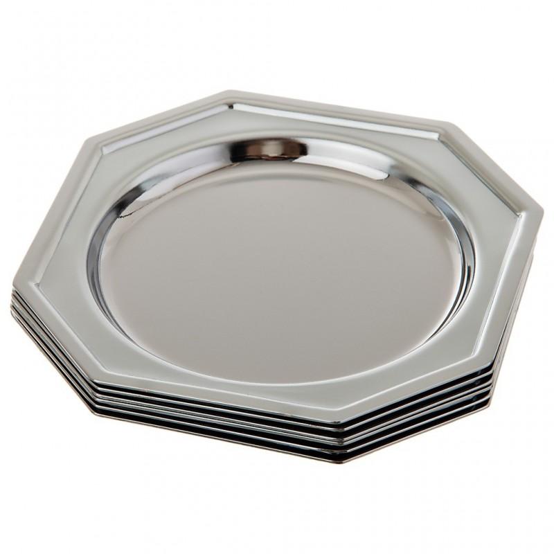 Juego de 6 posa vasos de hierro cromado Octagonal Silver
