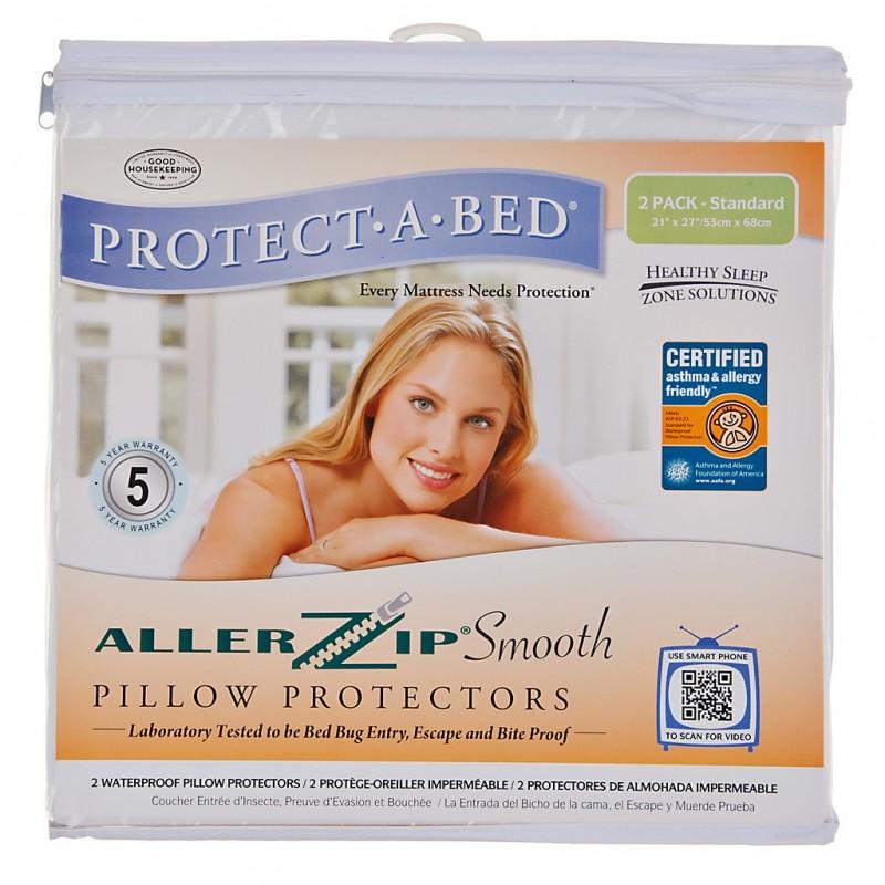 Juego de 2 protectores para almohada anti ácaros e impermeable 100% poliéster Allerzip
