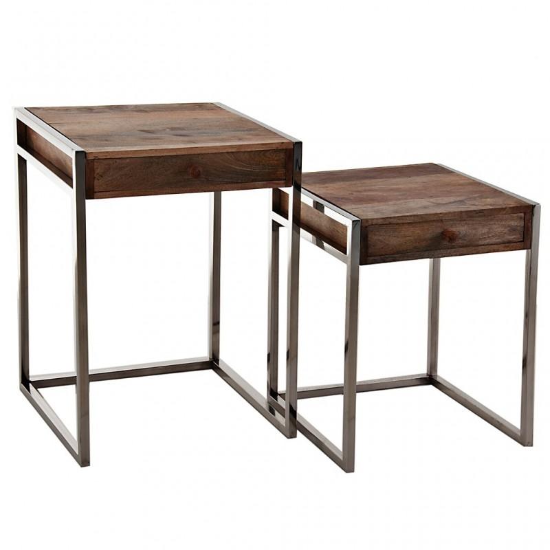 Juego de 2 mesas auxiliares con cajón Madera / Metal