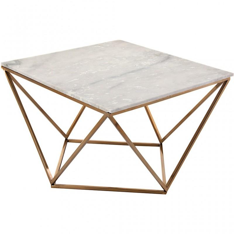 Mesa de centro con tablero de mármol y patas doradas Geométrico