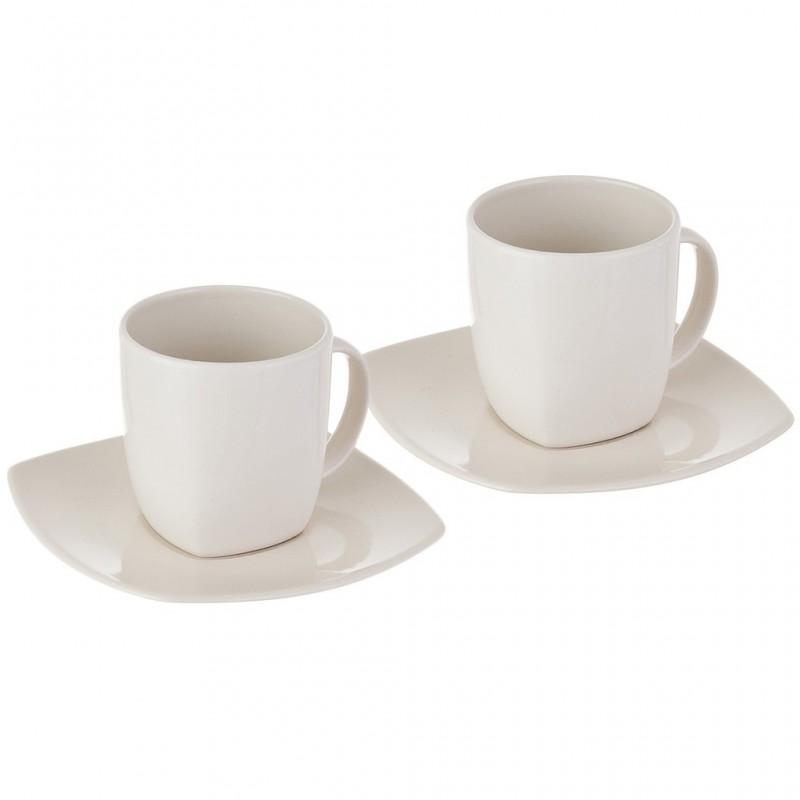 Juego de 4 piezas taza y plato para café o té Cerámica Oslo Corona