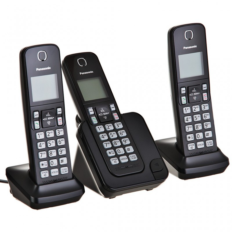 Teléfono inalámbrico con 3 auriculares, bloqueo de llamadas y sistema DECT KX-TGC353LAB Panasonic