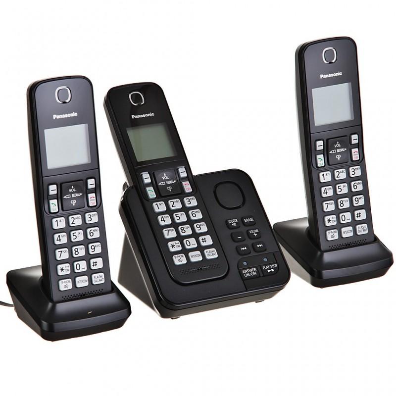 Teléfono inalámbrico con 3 auriculares, contestador y bloqueo de llamadas KX-TGC363LAB Panasonic