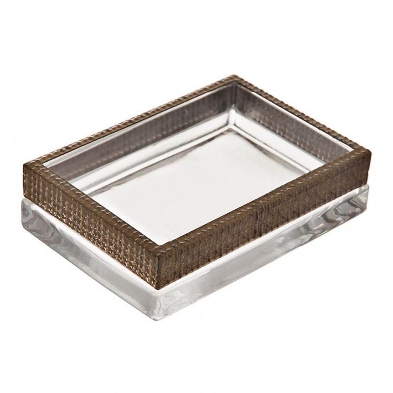 Jabonera de vidrio y metal Dorado