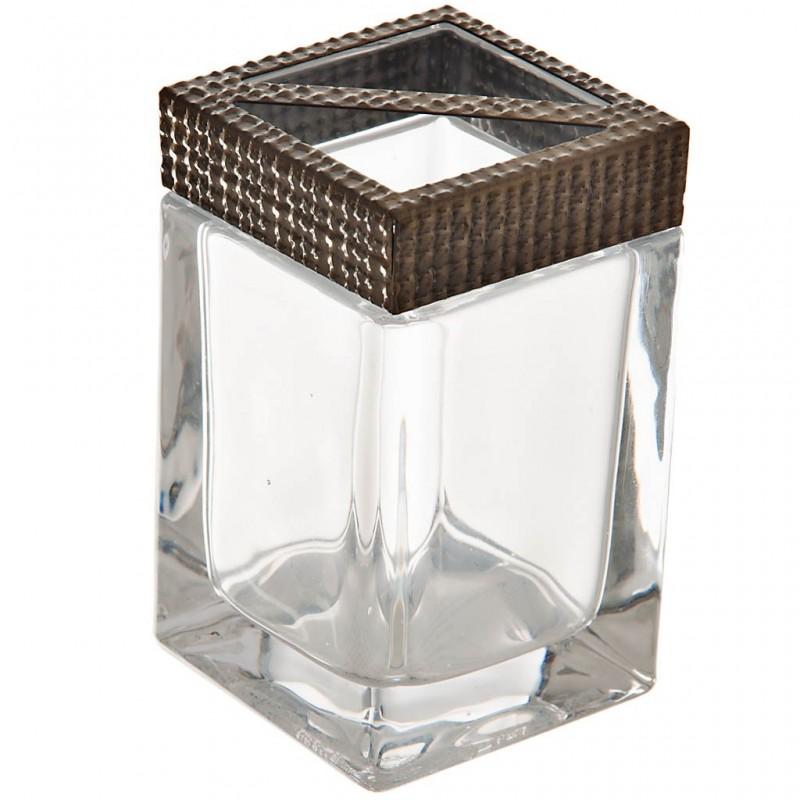 Porta cepillos de vidrio y metal Dorado