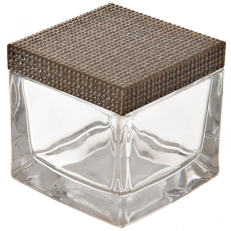 Algodonera de vidrio y metal Dorado