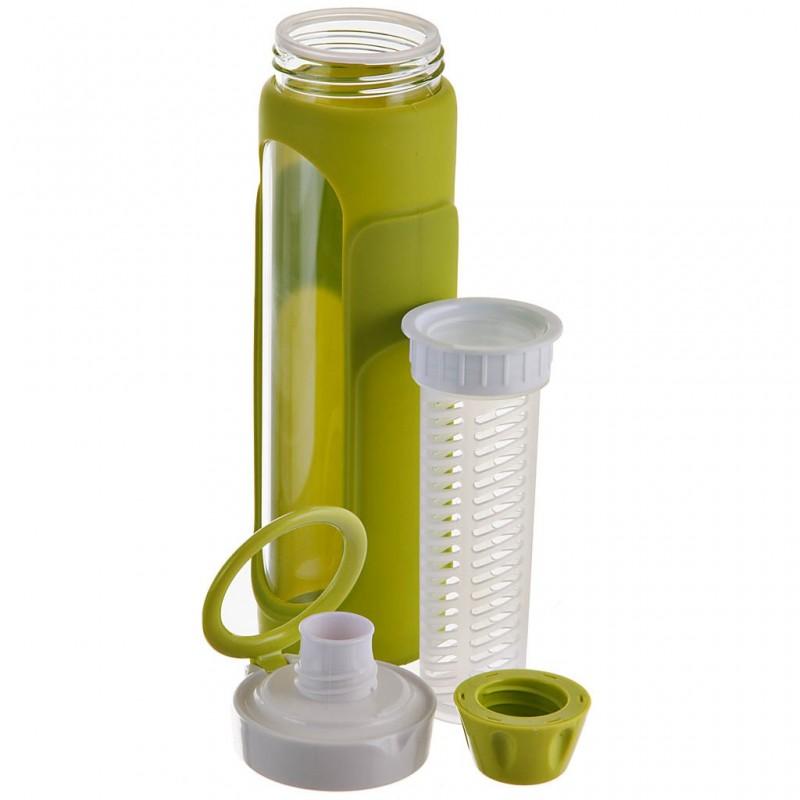 Botella con infusor y agarradera vidrio / plástico Haus
