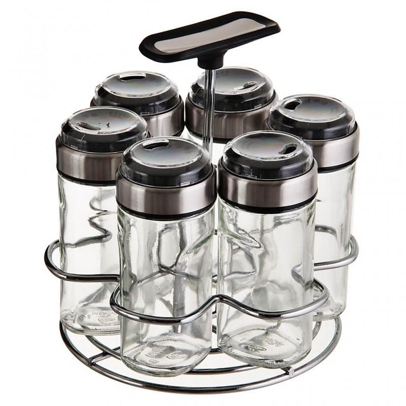 Especiero con base vidrio / acero inoxidable 7 piezas Haus