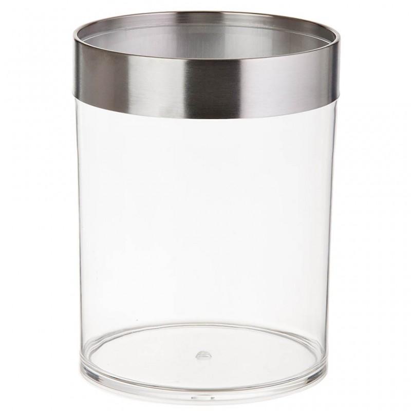 Basurero con borde silver Metal / Acrílico Clear