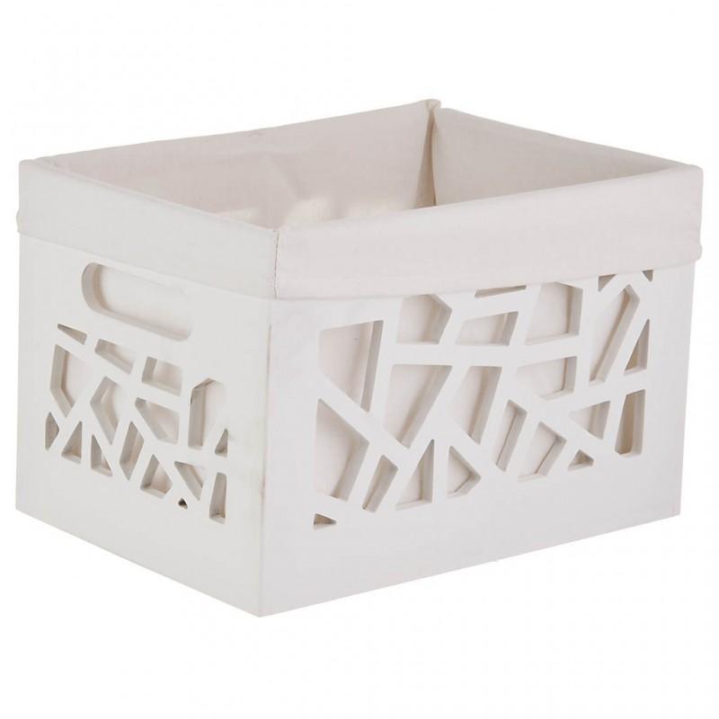 Canasta de madera comprimida Blanco Haus