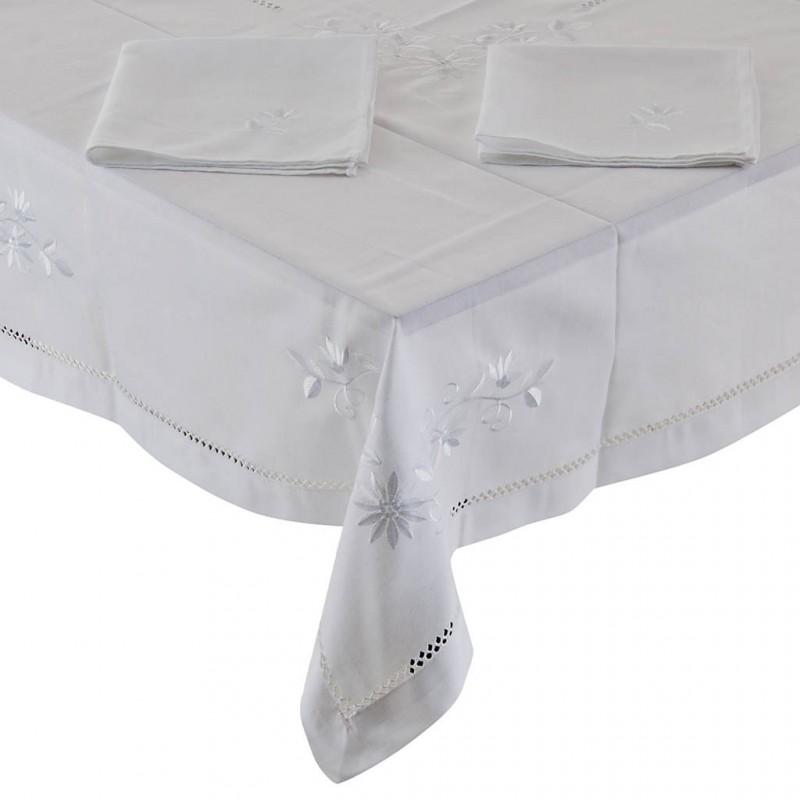 Mantel con servilletas Flores Blanco Haus