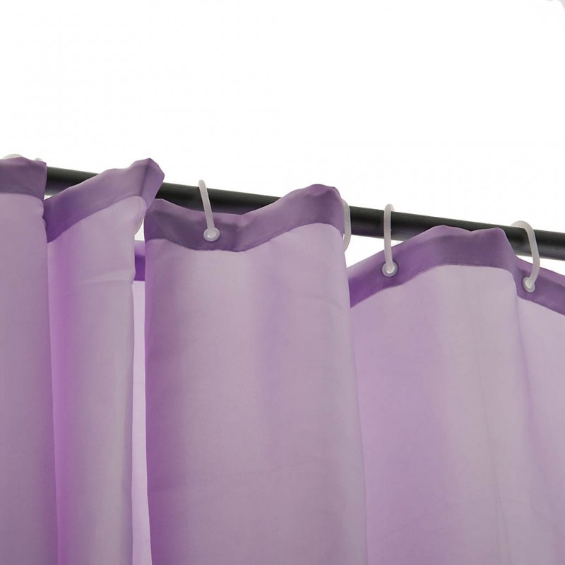 Cortina para baño con ganchos 100% poliéster Sólido
