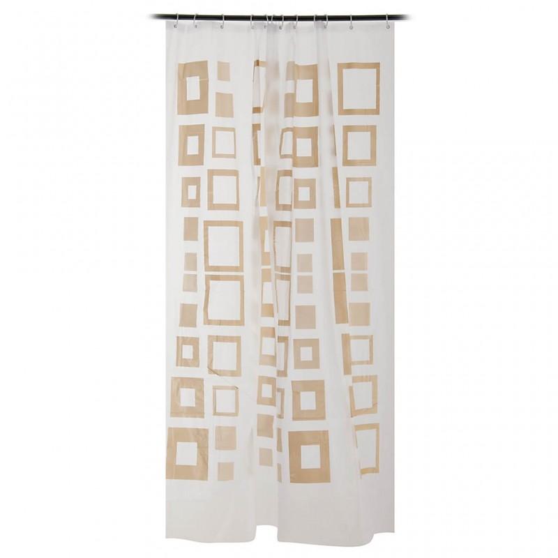 Cortina para baño con ganchos 100% PVC Geométrico