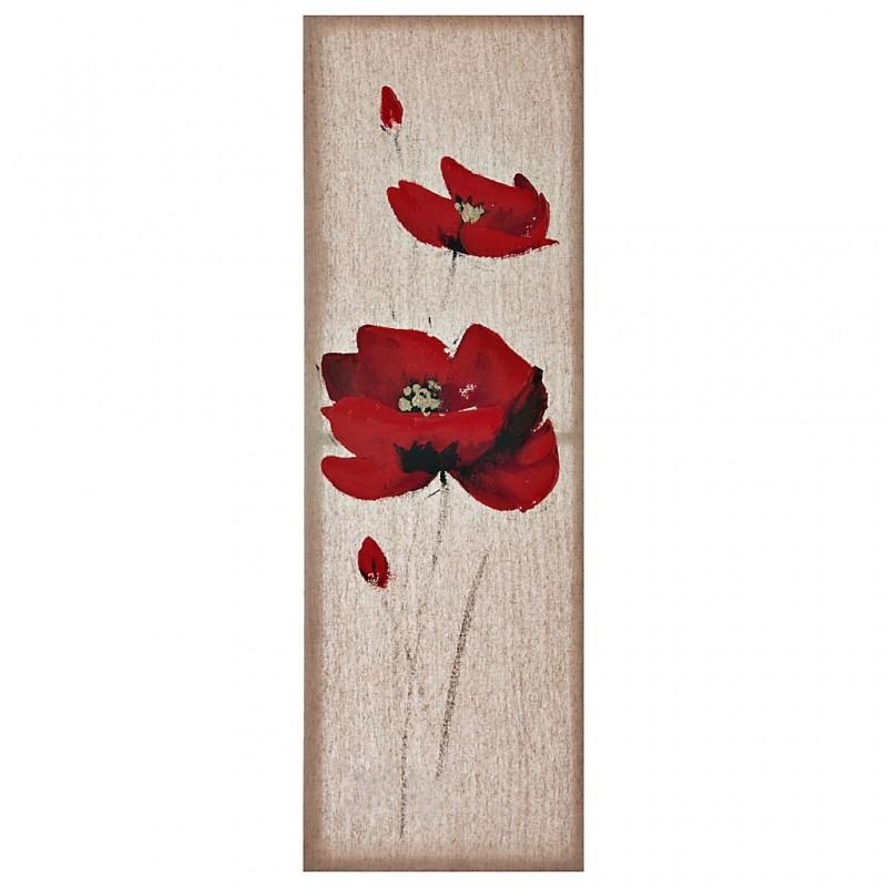 Cuadro Flores Rojo / Natural 90 x 30 cm