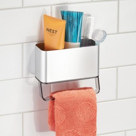 Organizador de aluminio para ducha con barra AFFIXX Metro Interdesign