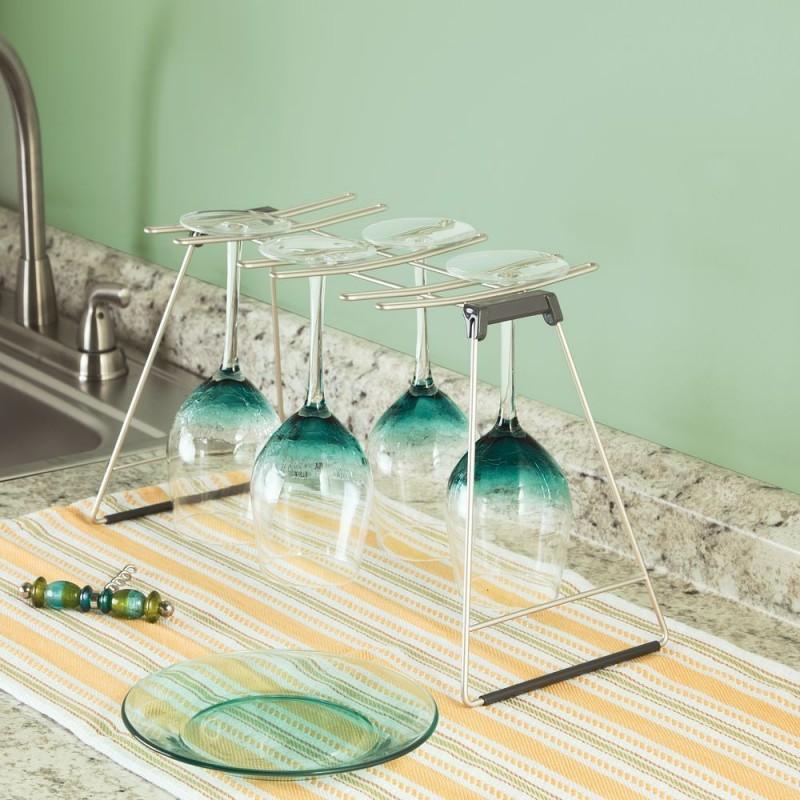 Organizador plegable para copas de vino Classico Satinado Interdesign